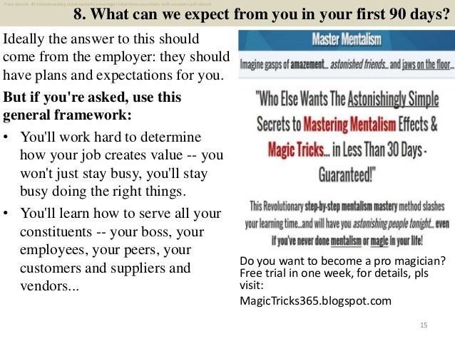 Top 25 housekeeping representative manager interview ...