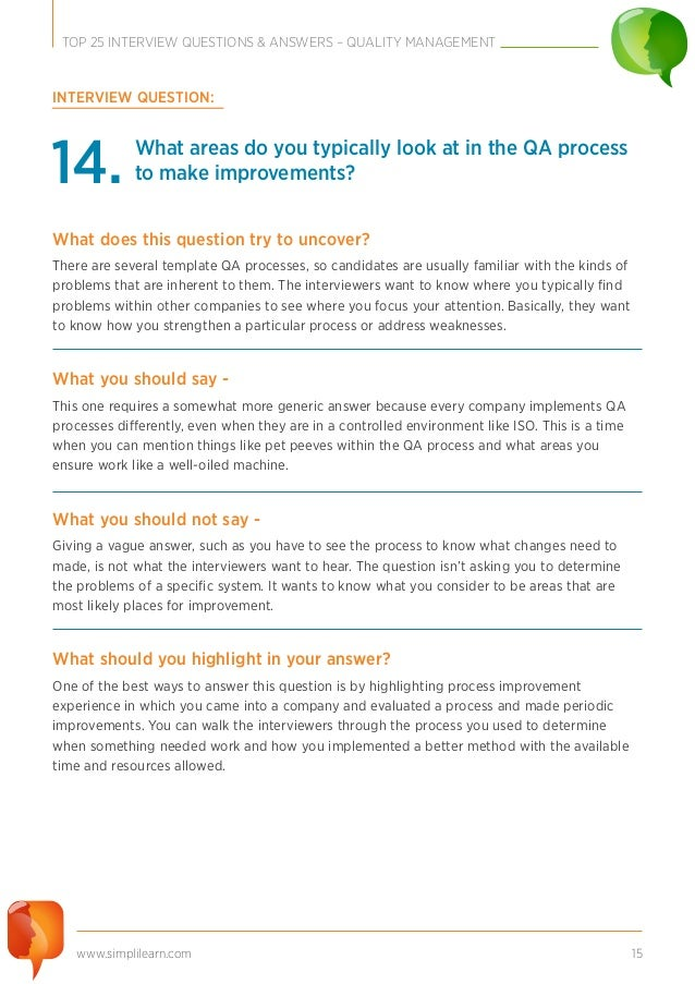 Superb 15. Www.simplilearn.com 15 TOP 25 INTERVIEW QUESTIONS ...
