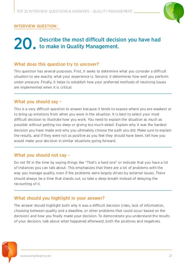 Top Interview Questions Quality Management - 21 deep questions that need answering in 2016