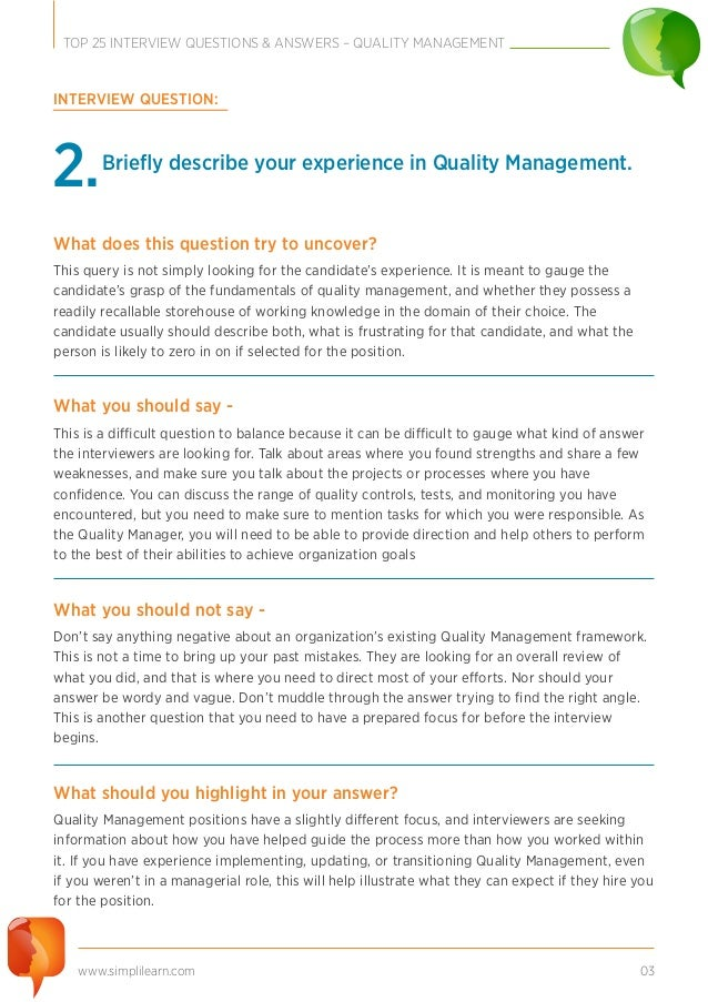 Top 25 Interview Questions Quality Management