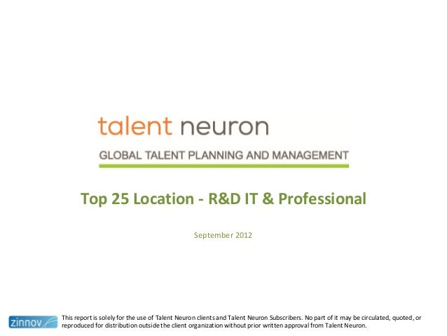 Top 25 Location - R&D IT & ProfessionalSeptember 2012This report is solely for the use of Talent Neuron clients and Talent...