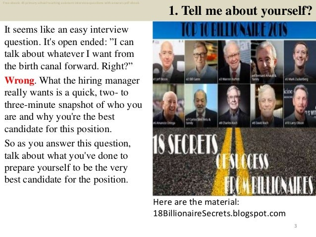 Top 25 primary school teaching assistant interview ...