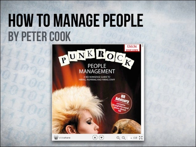 How To Manage People By Peter Cook