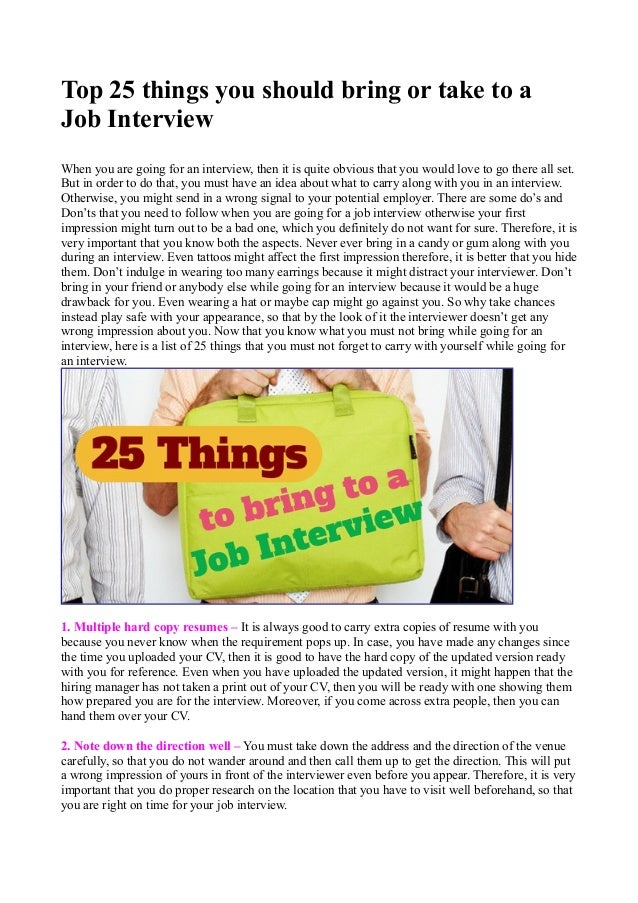 top 25 things you should bring or take to a job interview when you are going - What Should You Take To A Job Interview What To Bring And What Not To Bring