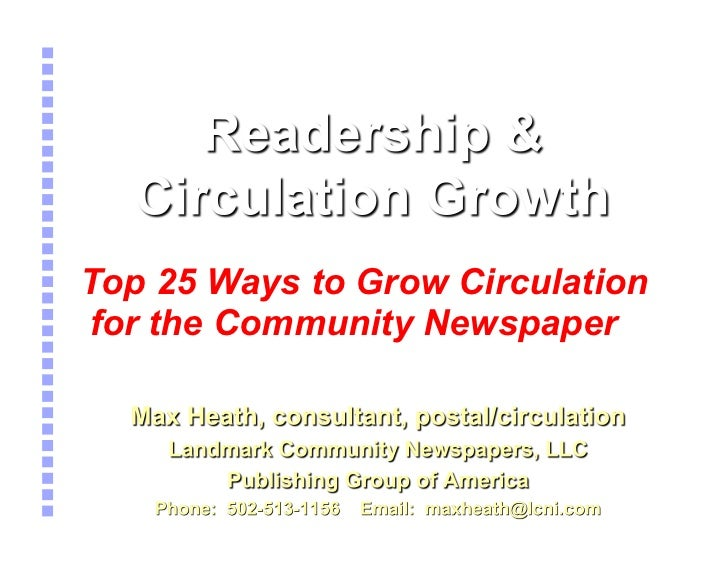 Top 25 Ways to Grow Circulationfor the Community Newspaper