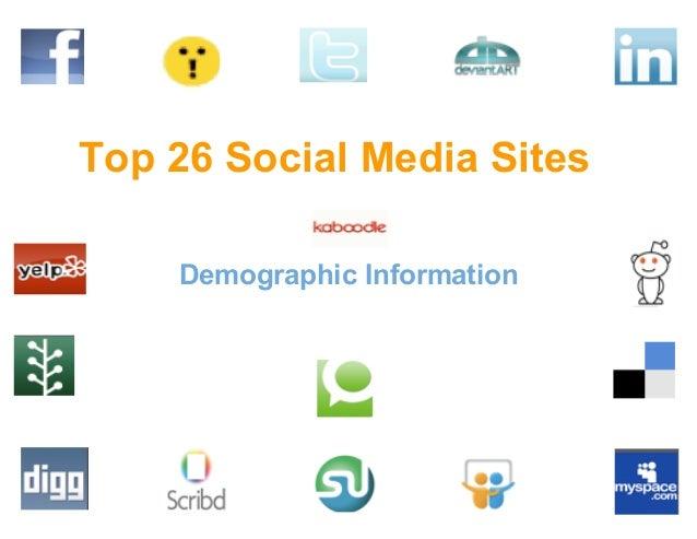 Top 26 Social Media Sites Demographic Information