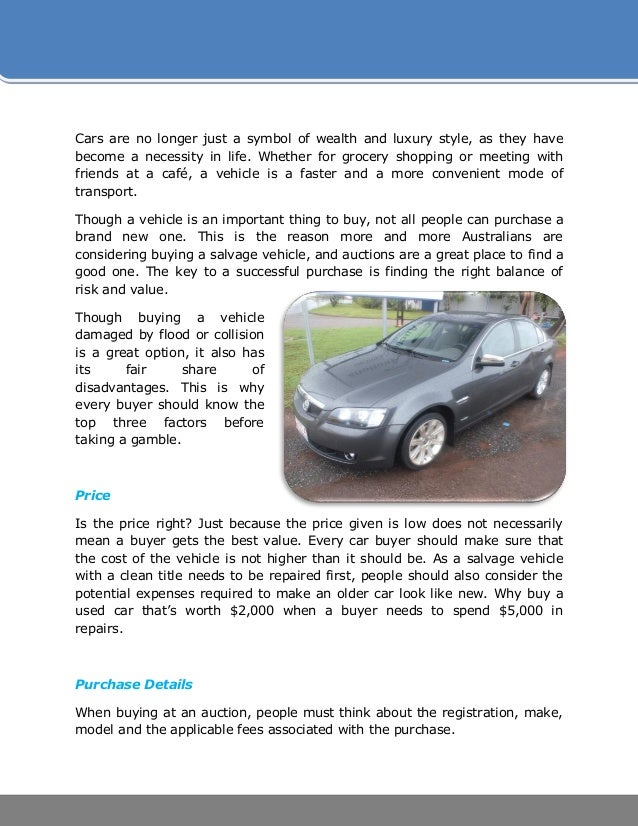 Top 3 Factors to Consider When Buying a Salvage Vehicle