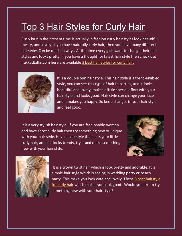 Top 3 Hair Styles For Curly Hair