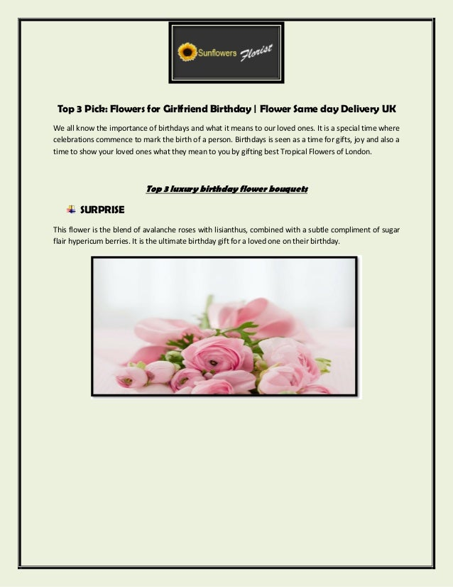 Top 3 Pick Flowers For Girlfriend Birthday