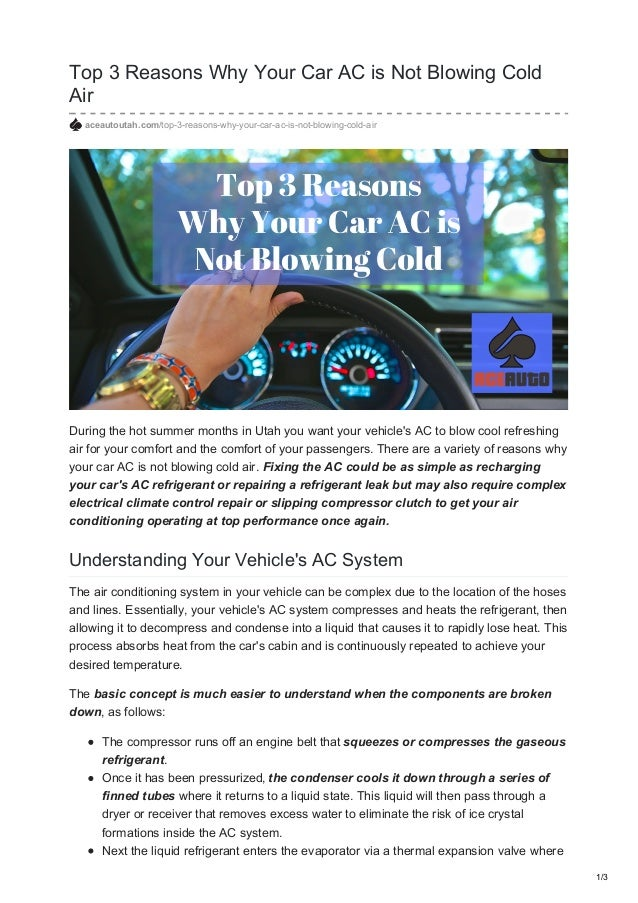 Top 3 reasons why your car ac is not blowing cold air