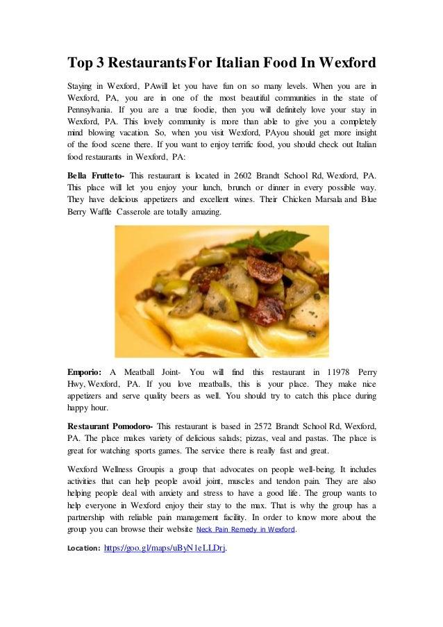 Top 3 Restaurants For Italian Food In Wexford