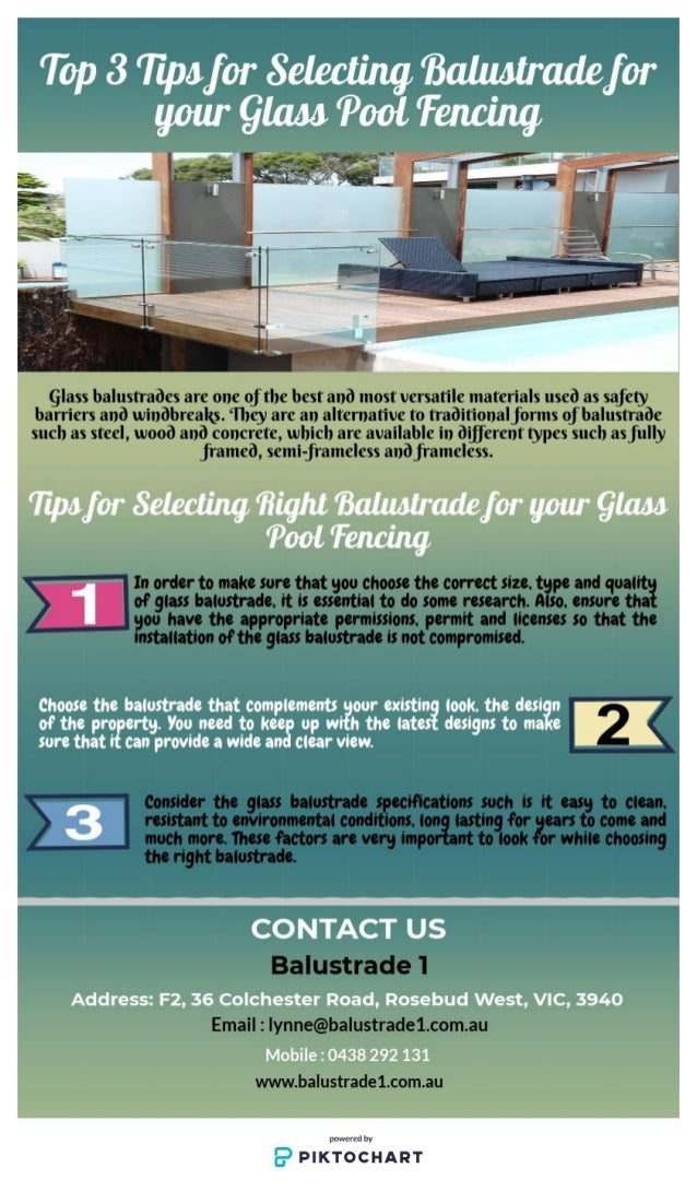 Top 3 Tips For Selecting Balustrade For Your Glass Pool Fencing