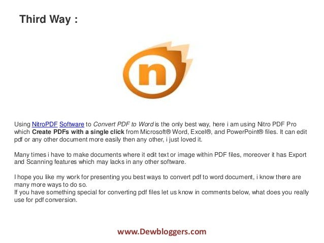 best way to convert pdf to word