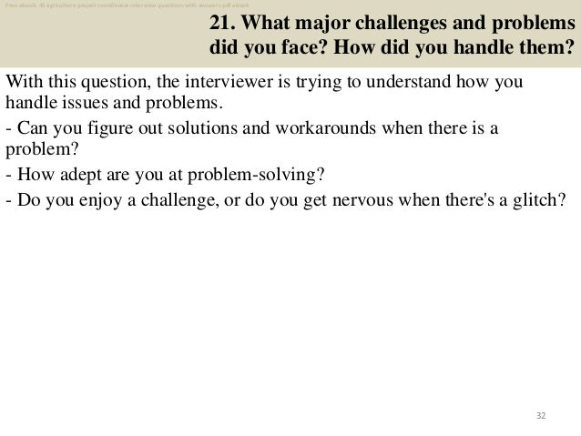 Top 40 agriculture project coordinator interview questions