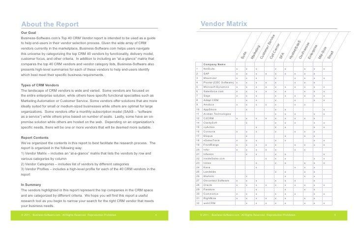 software vendor selection criteria template - 2011 top 40 crm software vendors