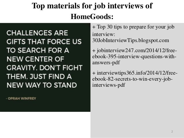 Top 40 Home Goods Interview Questions And Answers Pdf Ebook Free Down