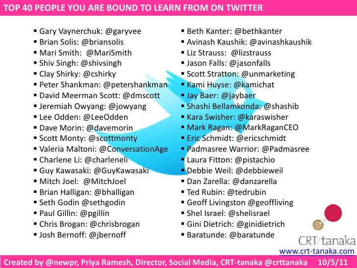 TOP 40 PEOPLE YOU ARE BOUND TO LEARN FROM ON TWITTER<br /><ul><li> Beth Kanter: @bethkanter