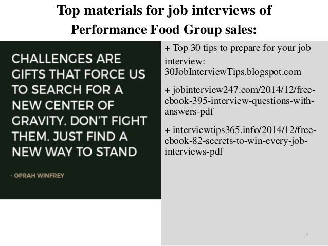 Top 40 performance food group sales interview questions and