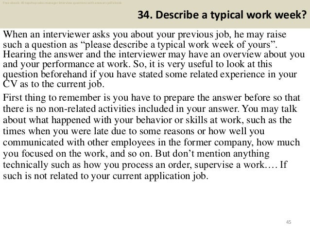Typical Interview Questions For Sales Managers Information and Ideas