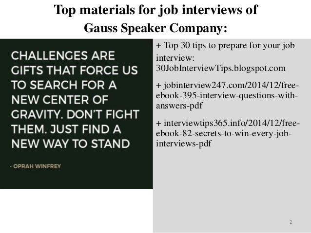 Top 45 gauss speaker company interview questions and answers pdf