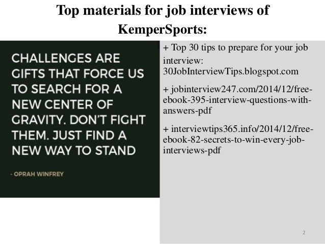 Top 45 kemper sports interview questions and answers pdf