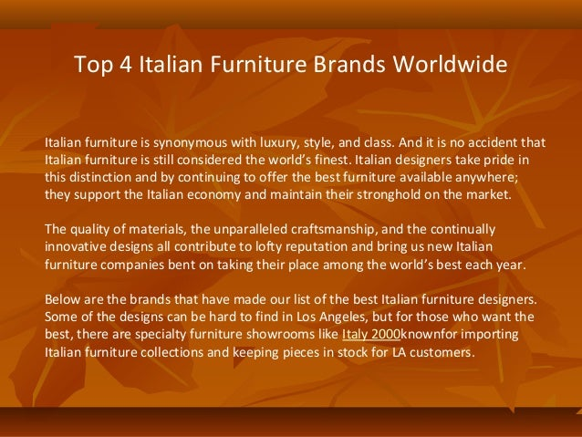 Top 4 Italian Furniture Brands Worldwide