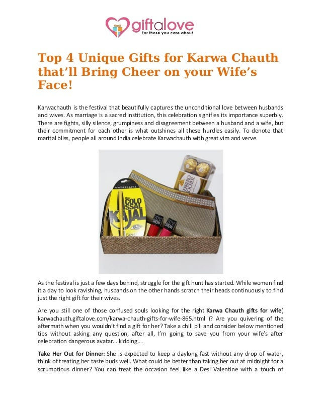 Top 4 unique gifts for karwa chauth thatu0027ll bring cheer on your wifeu0027s face  sc 1 st  SlideShare & Top 4 unique gifts for karwa chauth thatu0027ll bring cheer on your wifeu0027u2026