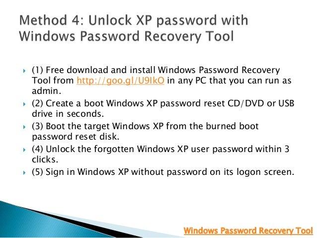 free password recovery tool windows xp