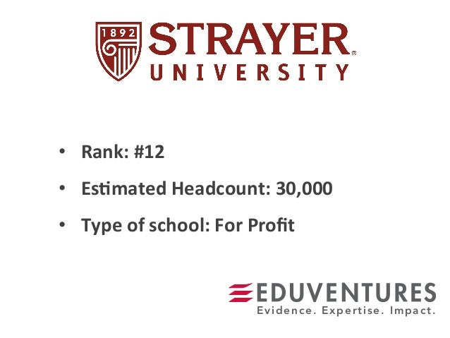 • Rank:  #12   • Es.mated  Headcount:  30,000   • Type  of  school:  For  Profit   Evidence. Experti...