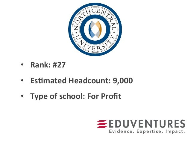 •  Rank:	   #27	    •  Es.mated	   Headcount:	   9,000	    •  Type	   of	   school:	   For	   Profit	    Evidence. Expertis...