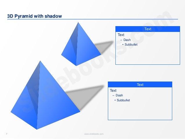 7 www.slidebooks.com7 3D Pyramid with shadow Text Text ‒ Dash • Subbullet Text Text ‒ Dash • Subbullet