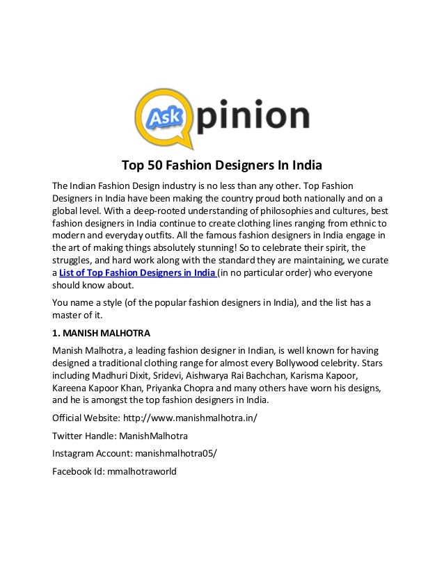 Top 50 Fashion Designers In India