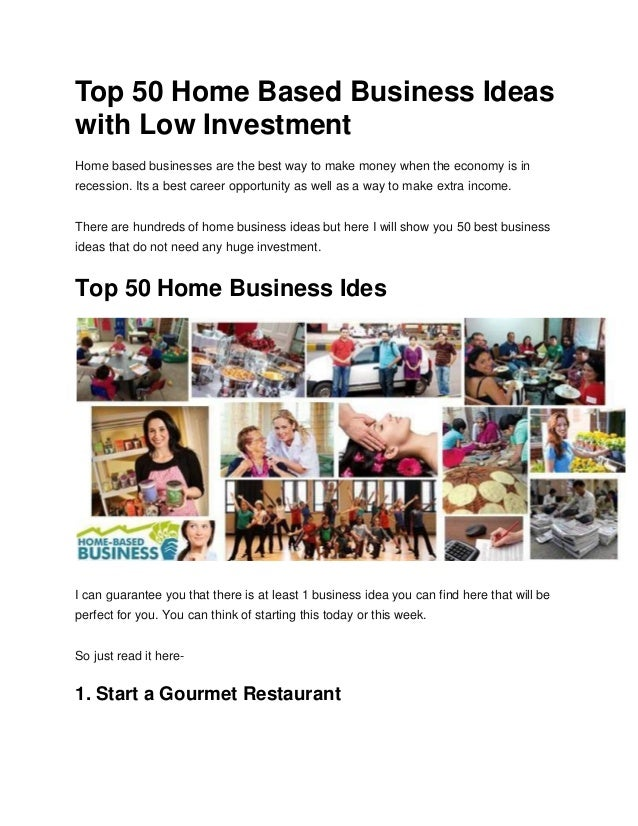Top Home Based Business Ideas With Low Investment