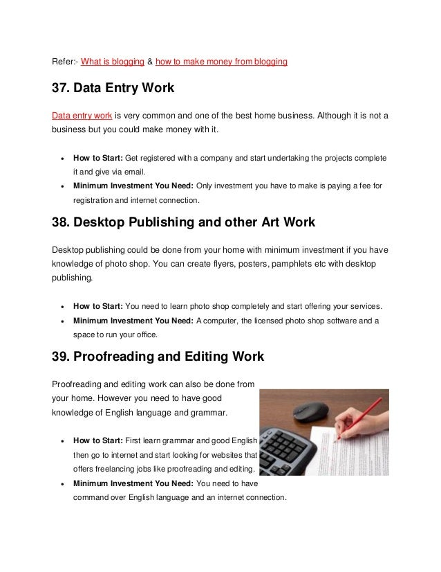Top 50 home based business ideas with low investment 14 refer what is blogging how to make money ccuart Image collections