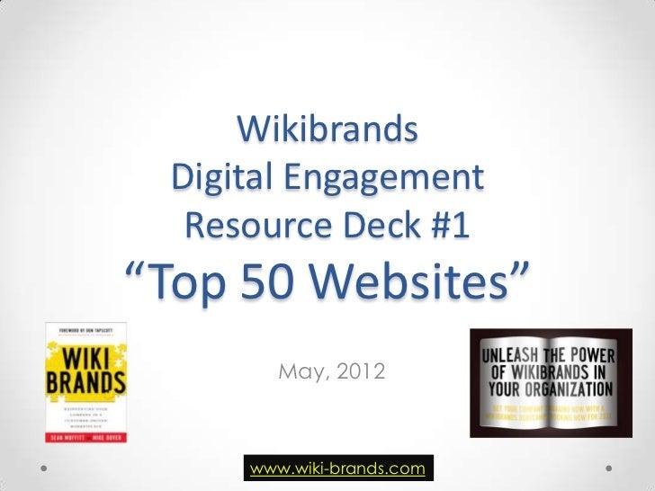 "Wikibrands Digital Engagement  Resource Deck #1""Top 50 Websites""        May, 2012     www.wiki-brands.com"