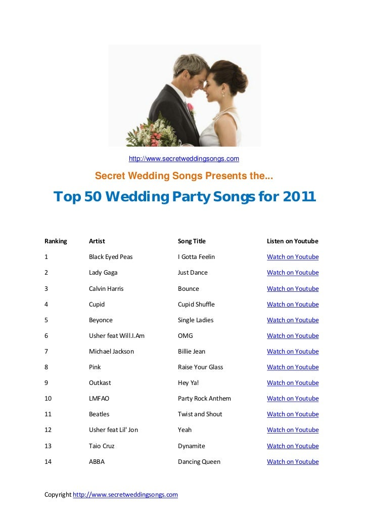 top 50 wedding songs for 2011. Black Bedroom Furniture Sets. Home Design Ideas