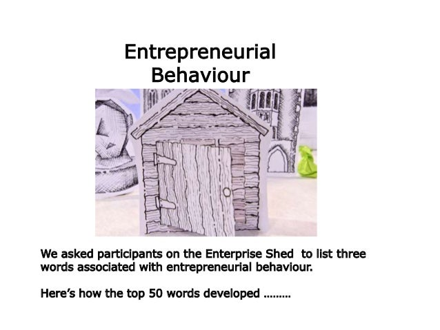 We asked participants on the Enterprise Shed to list three words associated with entrepreneurial behaviour. Here's how the...