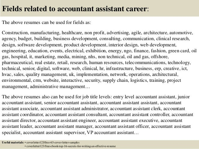 Accounting Istant Cover Letter | Top 5 Accountant Assistant Cover Letter Samples