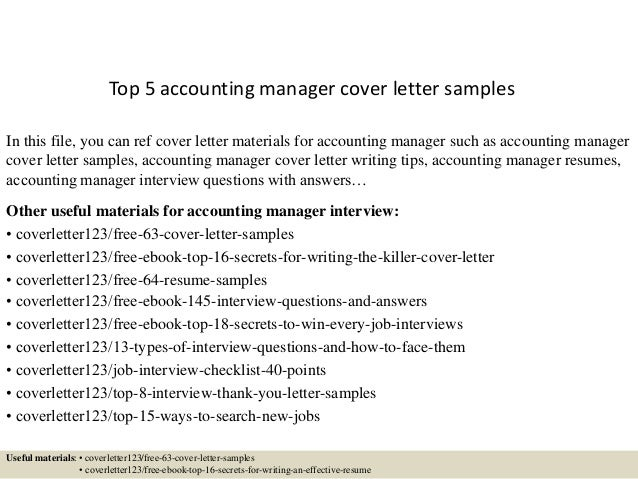 Sample Accounting Manager Cover Letter