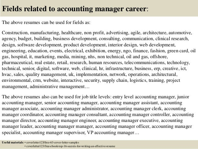 Top 5 accounting manager cover letter samples