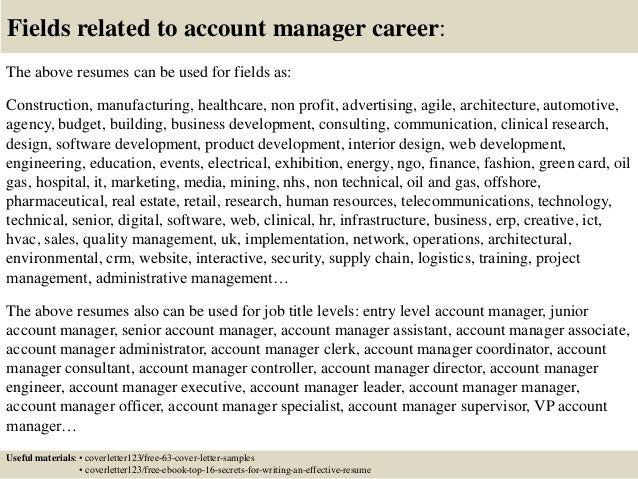 16 fields related to account manager - Account Director Cover Letter