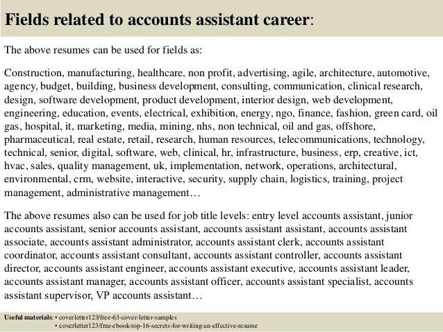 16 Fields Related To Accounts Assistant