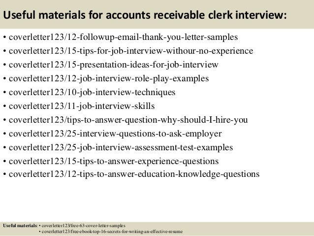 Cover letter for account receivable clerk