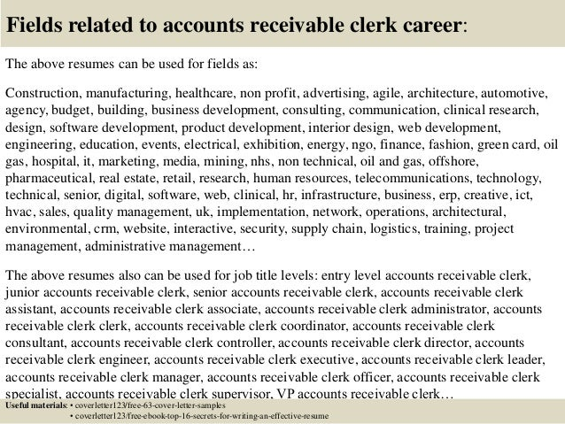 Top 5 accounts receivable clerk cover letter samples