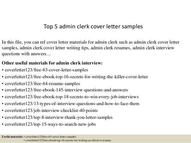 Top 5 admin clerk cover letter samples