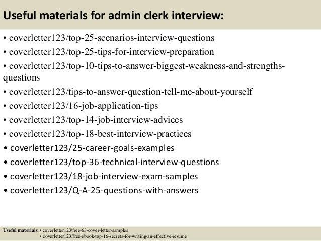 13 useful materials for admin clerk. Resume Example. Resume CV Cover Letter