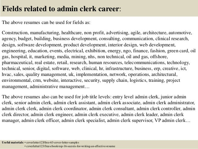 Top 5 admin clerk cover letter samples 16 altavistaventures Gallery
