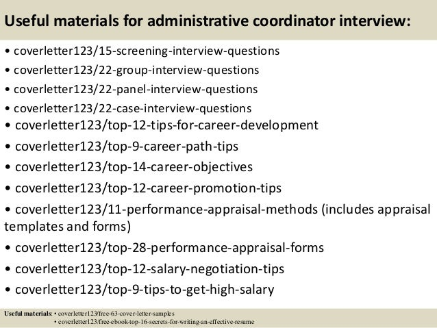 Top 5 administrative coordinator cover letter samples