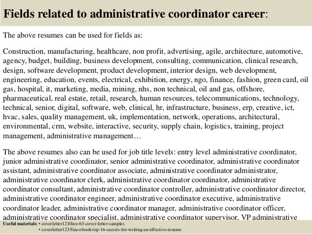 Top  Administrative Coordinator Cover Letter Samples