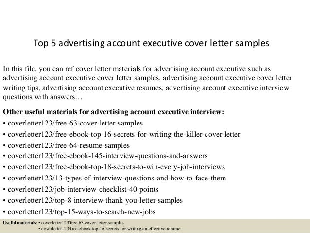 Top 5 Advertising Account Executive Cover Letter Samples In This File You Can Ref